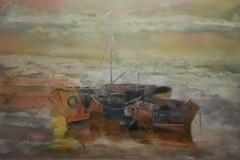 Colrina-Catarivas-oleo-sobre-madera-90x60-Barcas
