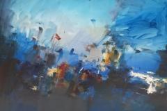Gustavo Vazquez Abstraccion en azul Oleo sobre tela 120x100-min