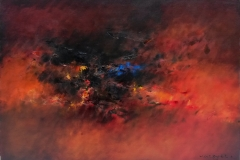 Gustavo Vazquez Composicion en rojo Oleo sobre tela 116x81-min