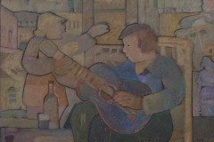 Javier-Velazquez-30x40-Oleo-collage-sobre-madera-Guitarrista
