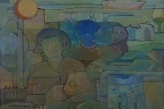 Javier-Velazquez-30x40-Oleo-collage-sobre-madera-Sol-y-Figuras
