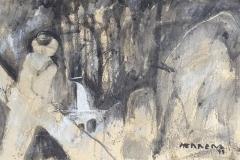 Explorador con elefante oleo sobre papel y tela 97x66-min