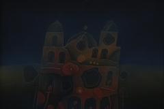 Osvaldo Paz, 58x48, Óleo collage sobre tela, Edificios-min